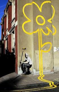 Gatukonst av den kände artisten Banksy