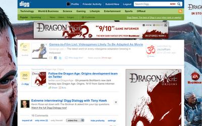 Dragonage på Digg.com