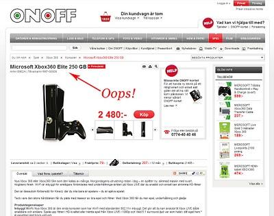 Onoff.se och Xbox 360 Slim - Inte helt lätt att hitta genom Google eller prisjämförelsesidor