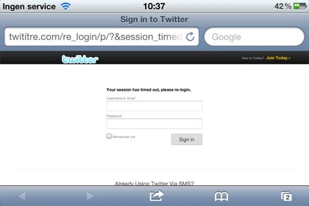Twititre, Phishing-sidan för Twitter logins. Här i iPhone
