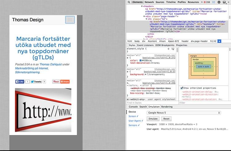 Chrome Developer Tools emulering