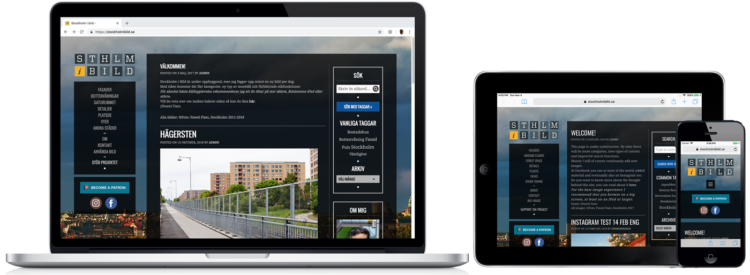 Stockholm i bild WordPress-hemsida