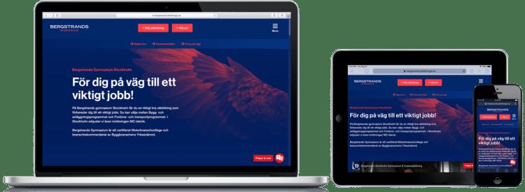 Bergstrands Utbildningar WordPress-hemsida